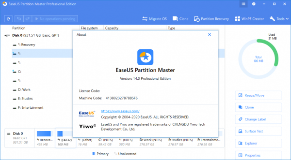 EaseUS Partition Master 14.0 Crack + Keygen 2020 Download